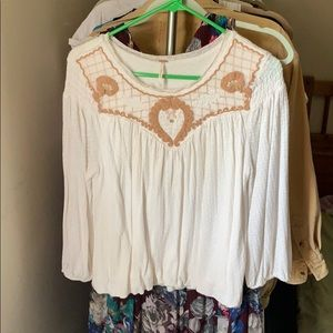 Free people embroidered peasant top